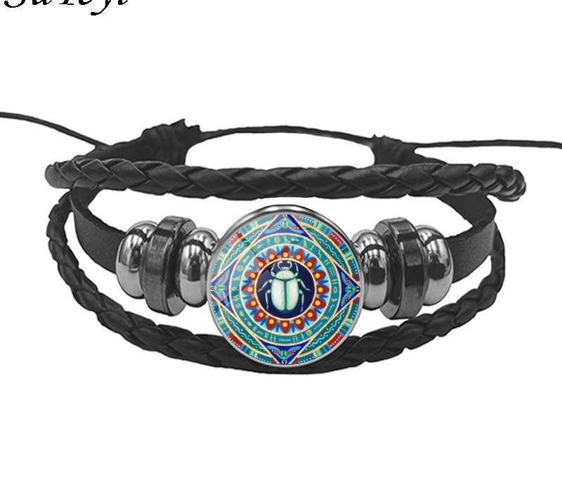 SUTEYI Egyptian Scarab Leather Bangle Chain Pharaoh Ancient Egypt Jewelry Egypt Charming Bracelets For Womens Mens Gifts