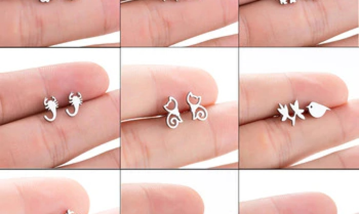 Yiustar Silver Stainless Steel Cute Stud Earring for Women Girls Tiny Animal Carnations Jewlery Fashion Mini Earrings Kids Gifts