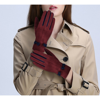 VBIGER Women Winter Warm Gloves Touch Screen Casual Suede fabric Gloves with Lovely Bowknot