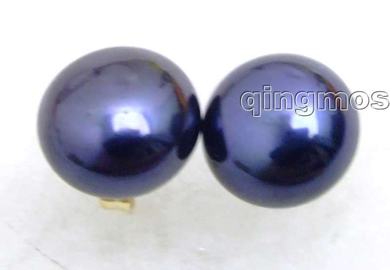SALE Great Natural Freshwater 7-8mm Black Flat Pearl Earring with Solid Gold Stud -8010 wholesale/retail Free shipping