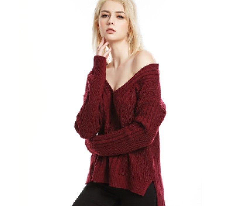 Sale hot sales Europe style chic V-neck woman knit sweater chic solid long sleeve pullover split female sweater