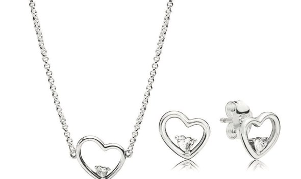 CHAMSS 19 Years High-end 925 Silver New Asymmetrical Heart Set of Love Necklace Fashion Women Jewelry Jewelry Birthday Gift