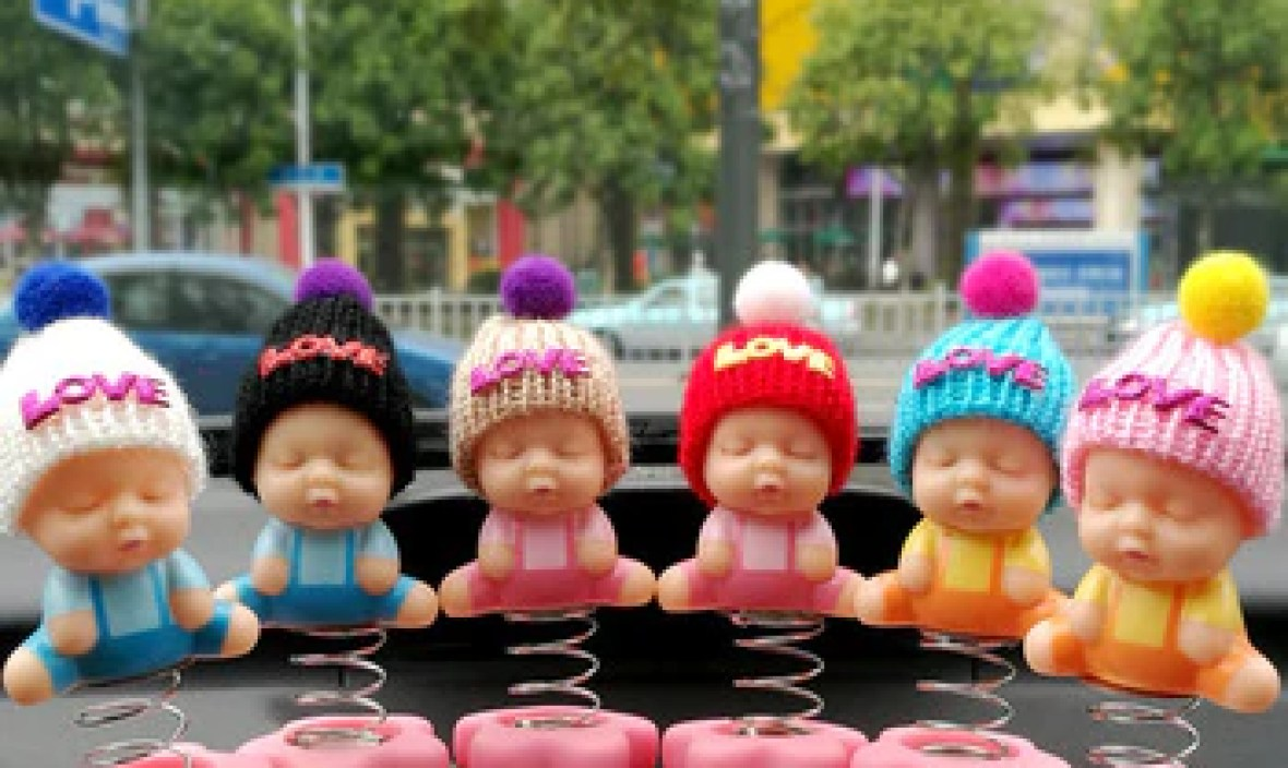 Car Decoration Sleeping Baby Cartoon Jumping Spring Toy Adornment Doll Auto Interior Dashboard Trim Ornament Accessories Gifts