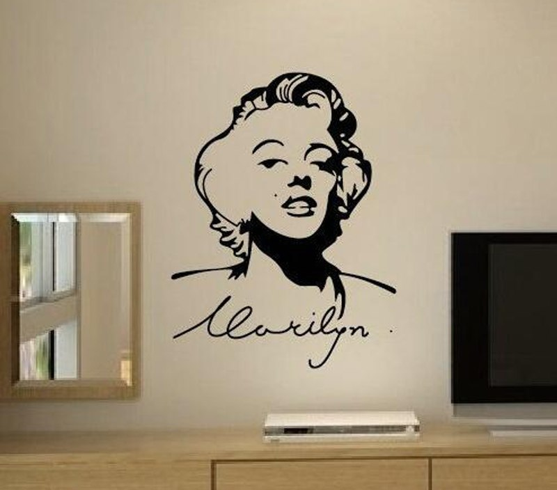Marilyn Monroe Wall Decals Home Design Decoration Vintage Poster Living Room Home Decor Beauty Salon Wall Art Murals Vinyl A894