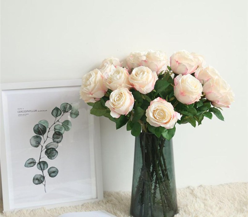 Flannel Touch artificial flowers Rose Flowers For Wedding Party Home Design Bouquet Decor artificial Decorative flowers D17
