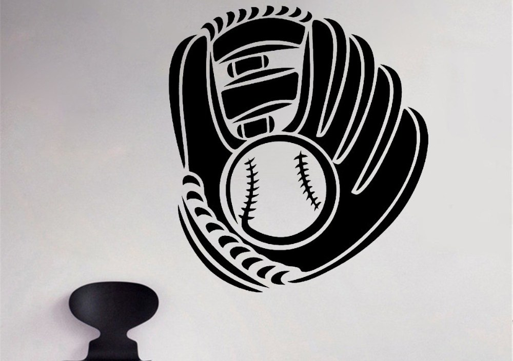 JOYRESIDE Baseball Glove And Ball Decals Vinyl Sports Athletic Wall Kids Boys Room Bedroom Living room Home Design Mural A1385