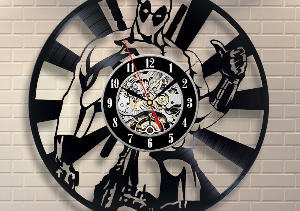 wall clock Deadpool Hero Vinyl Record Clock Home Design Room Art Decor Handmade Vintage