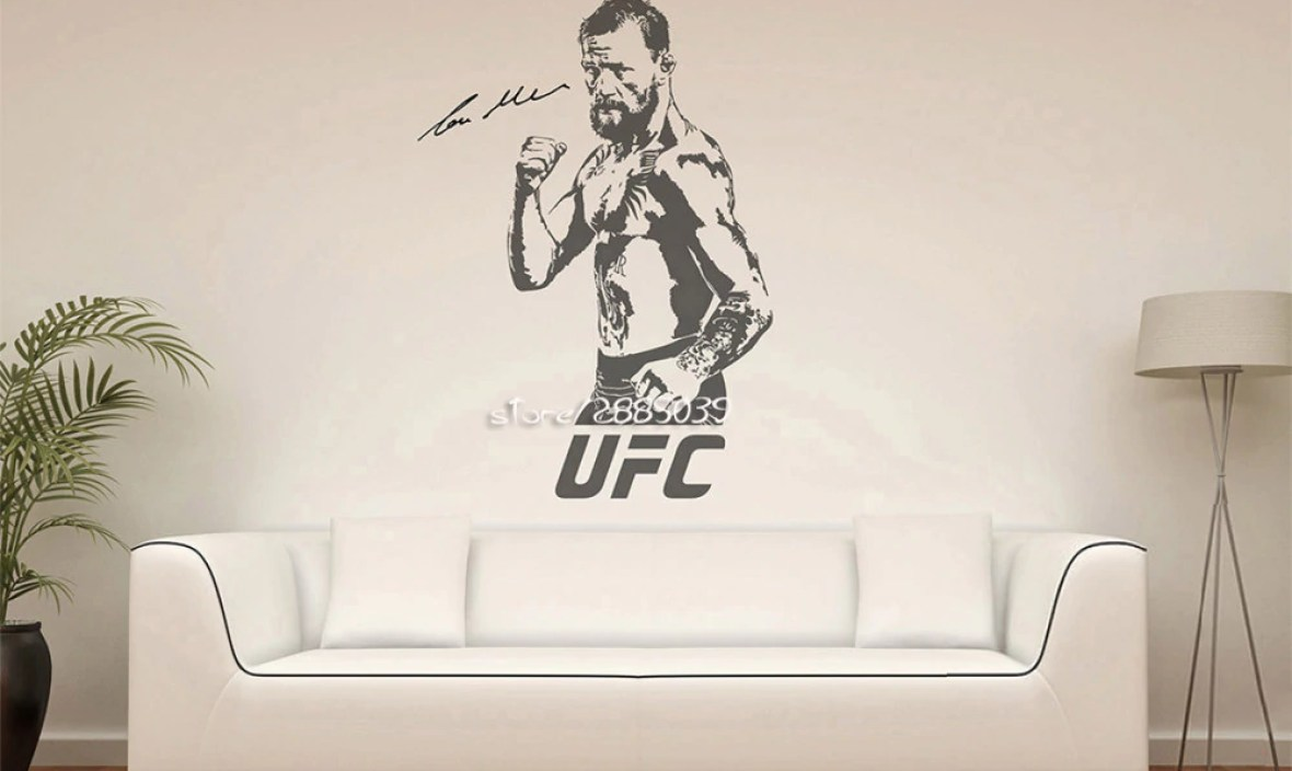 Conor McGregor Vinyl Wall Stickers UFC Fighting Silhouette Wall Sticker Home Design Removable Wall Decal For Boys Rooms  SA099