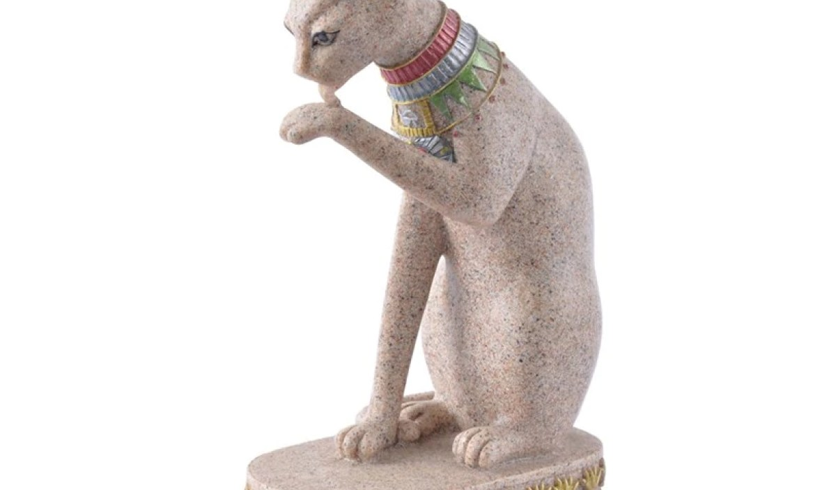 Natural Sandstone Statue Egyptian Cat God Statuette Cat Ancient Egypt Natural Sandstone Craft Sculptures Home Table Decoration