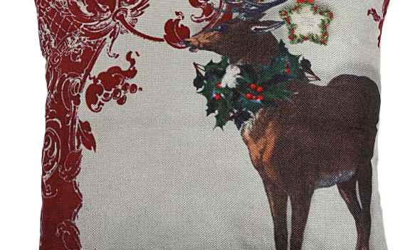 NHBR-Christmas Snowman Reindeer Elk Flax Pillow Case 18 x 18 inch  Home Design Pillow Case