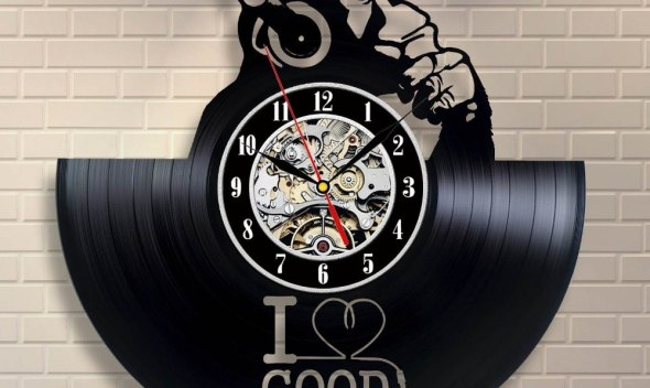 Music Art Decor Vinyl Record Clock Home Design saat