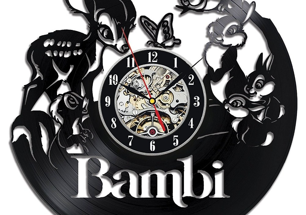 wall clock Bambi Vinyl Record Clock Home Design Room Art Decor Handmade Vintage,wall clock  saat alarm clock reloj large