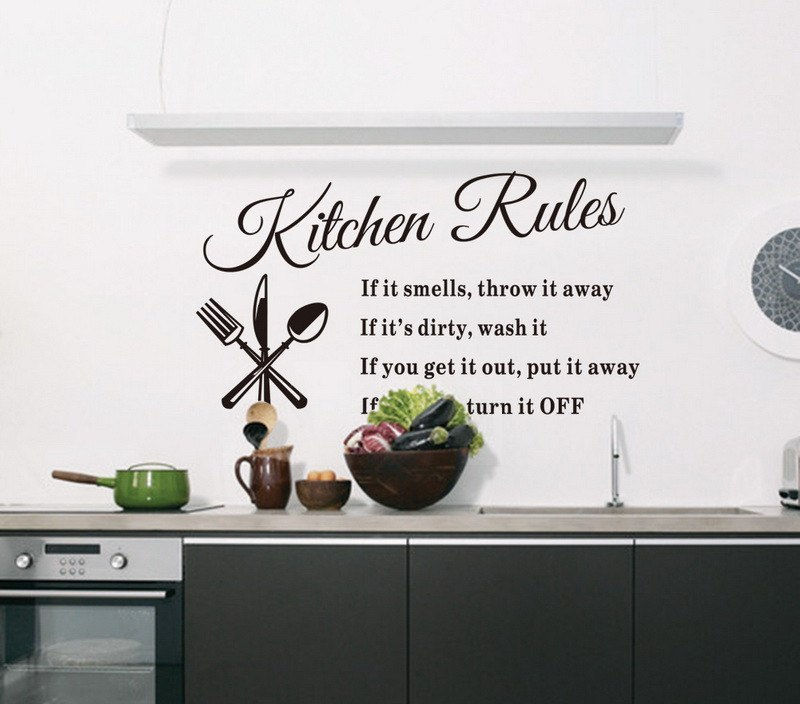 home decor Removable Wall Stickers Kitchen Rules Decal Home Accessories Beautiful Pattern Design Decoration home decor