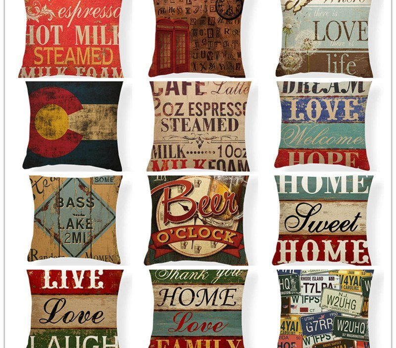 Designs Sweet Home Shabby Chic Wood  Vintage Nostalgia Hanging Plate Pillow  Seat 18 Inch Home Linen Almofada