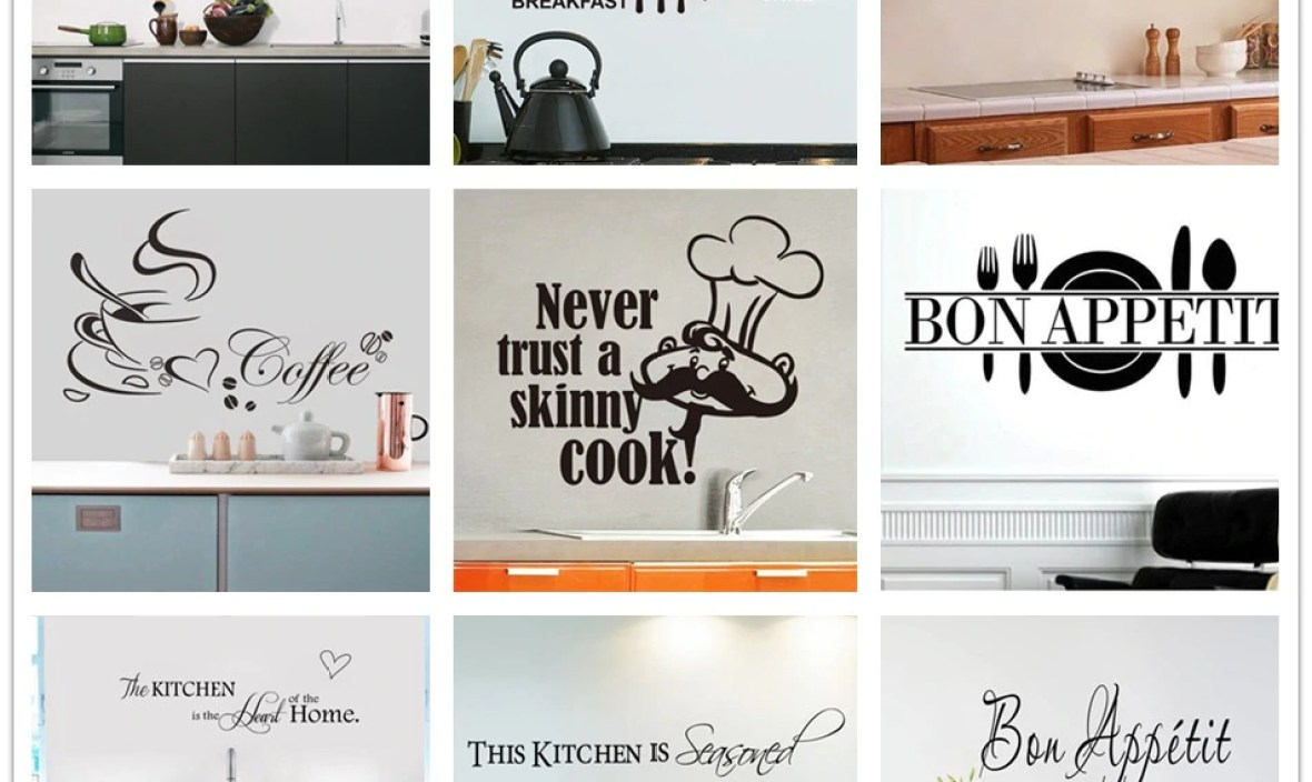 % home decor Removable  Food Wall Stickers Kitchen Rules  DIY Vinyl Decal Home Accessories Beautiful Pattern Design Decoration