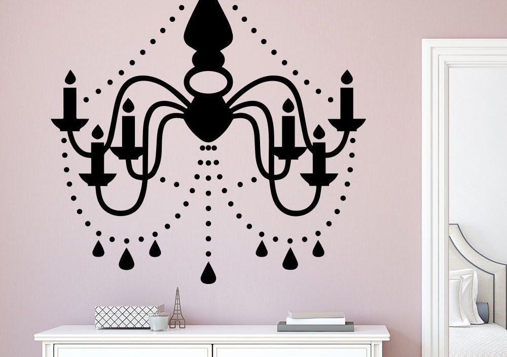 Chandelier Wall Decal Removable Vinyl Wall Decal Vinyl Sticker Home Decor Interior Art Home Design Decoration Wall Murals AY334