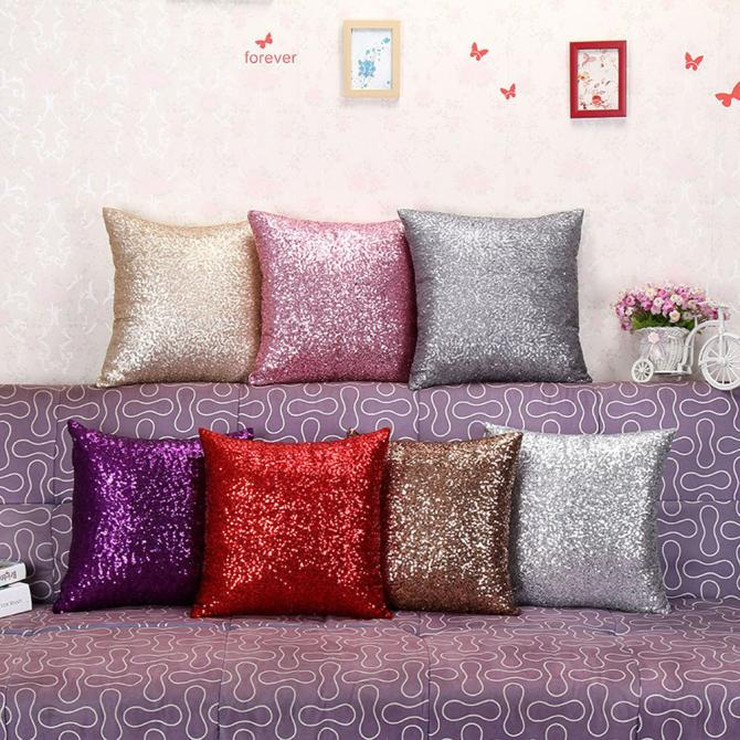Solid Color Glitter Sequins Throw Pillow Case Cafe Home pink pillowcase bling case soft Home Design warm winter Bed Square F80