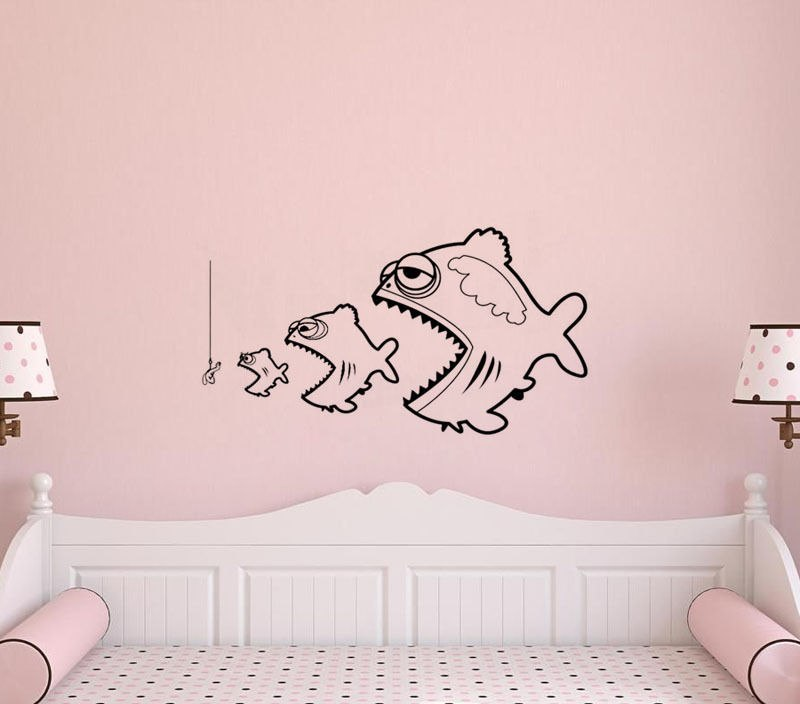 Fish Survival Vinyl Wall Stickers Fish Wall Sticker Removable Decor Kids Room Wall Art Wallpaper Home Design Mural  SA425
