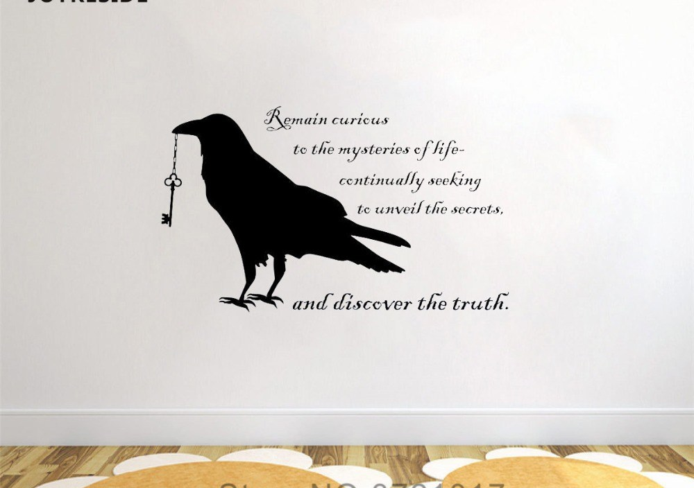 JOYRESIDE Black Raven Wall Lover Art Decor Gift Sticker Decals Vinyl Decorations Bedroom Living room Home Designs Murals A1204