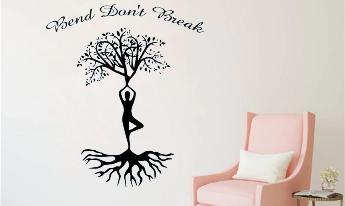 JOYRESIDE Bend Don't Break Wall Yoga Sticker Tree Decals Sports Vinyl Interior Decor Bedroom Living room Home Design Mural A1258