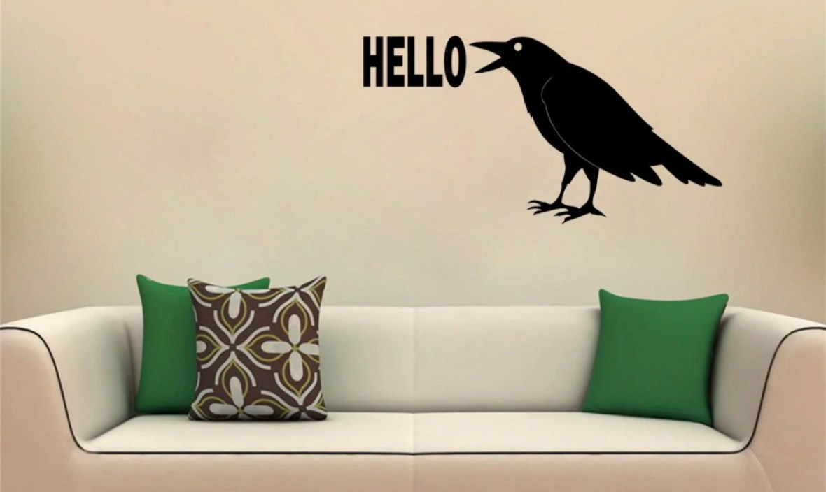 JOYRESIDE Raven Wall Crow Animal Decorations Decal Bird Vinyl Sticker Interior Decor Bedroom Living Room Home Design Murals A231