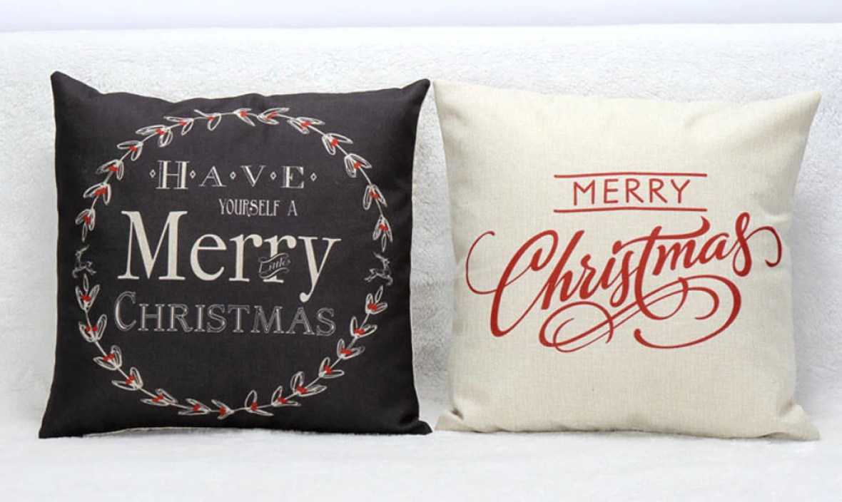 Christmas Letter warm Bed Home soft cover Festival Pillow Case pillowslip Home Design warm winter Bed Square black F80