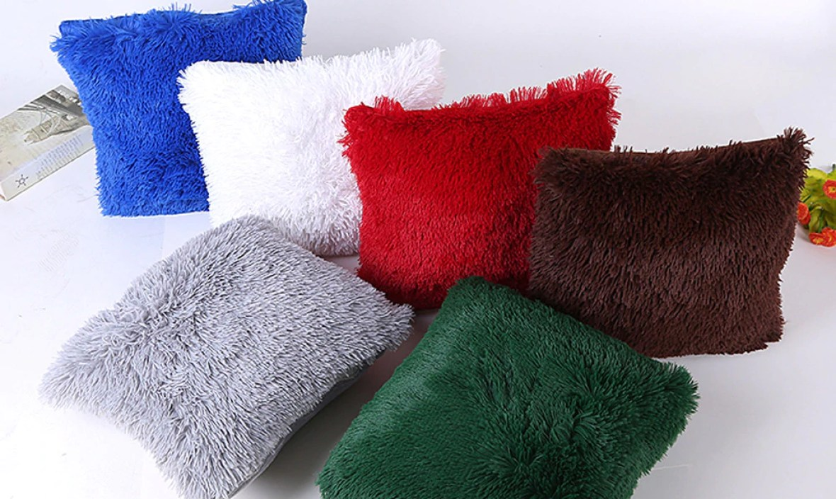 Pillow Hairy Case Waist Throw pillowcase Home soft Pillow case warm Home Design warm Bed Square pillowslip winter F80