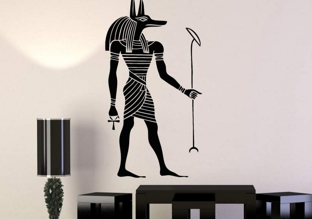 Ancient Egypt Art Stickers Mural Home Decor Anubis God Egyptian Style Vinyl Wall Decal Bedoom Living Room Decoration Decals D552