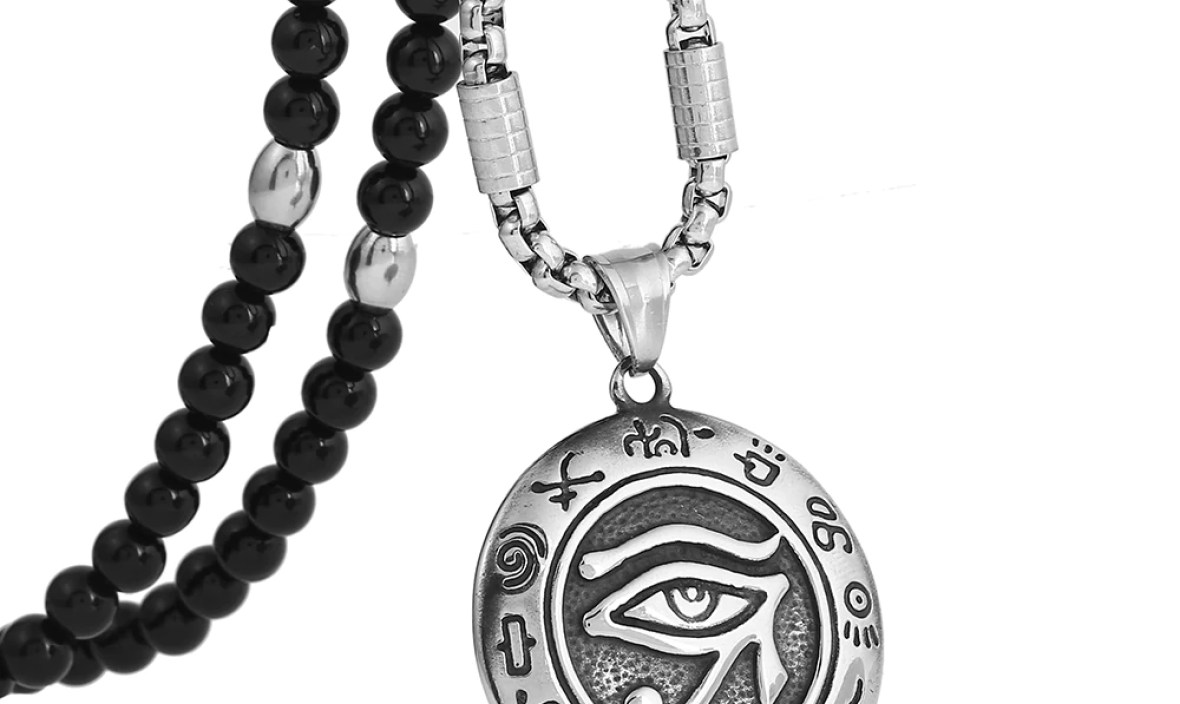 Men's Stainless Steel Eye of Horus Ancient Egypt Pendant Necklace with Black Natural Stone Chain 26″ for Men Jewelry