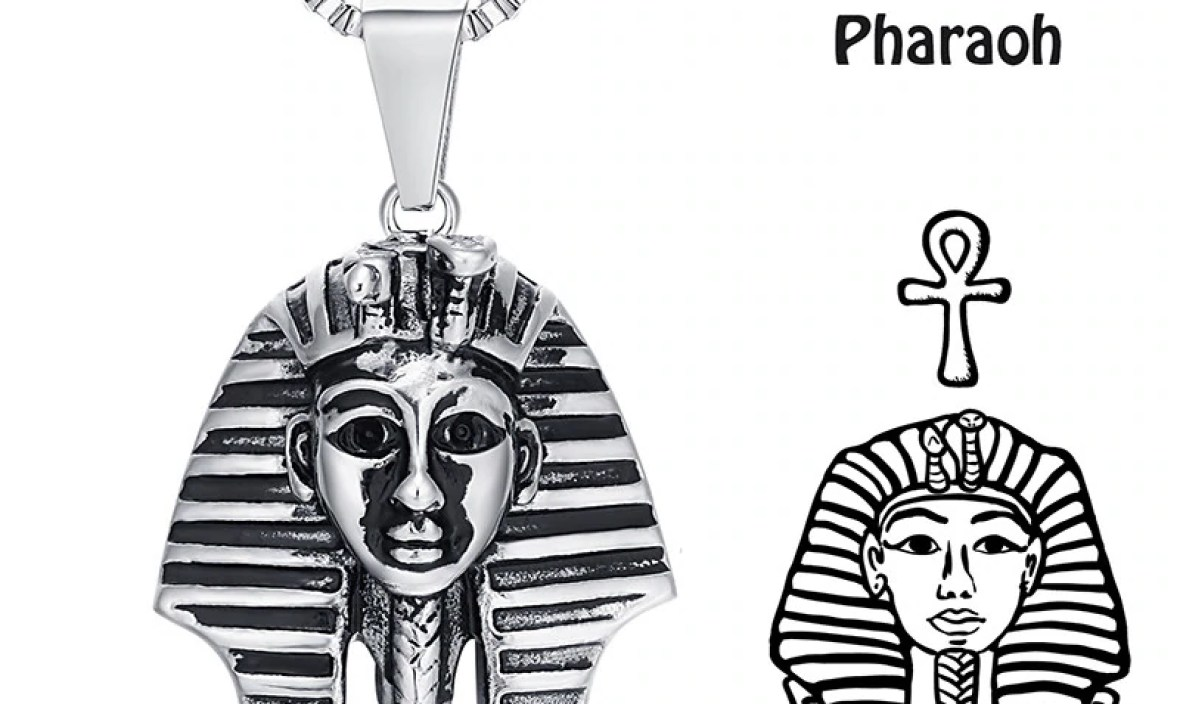 Maxmoon Ancient Egypt Charm Necklace Pharaoh King Silver Color Stainless Steel Necklaces  Pendants Vintage Jewelry For Men/Women