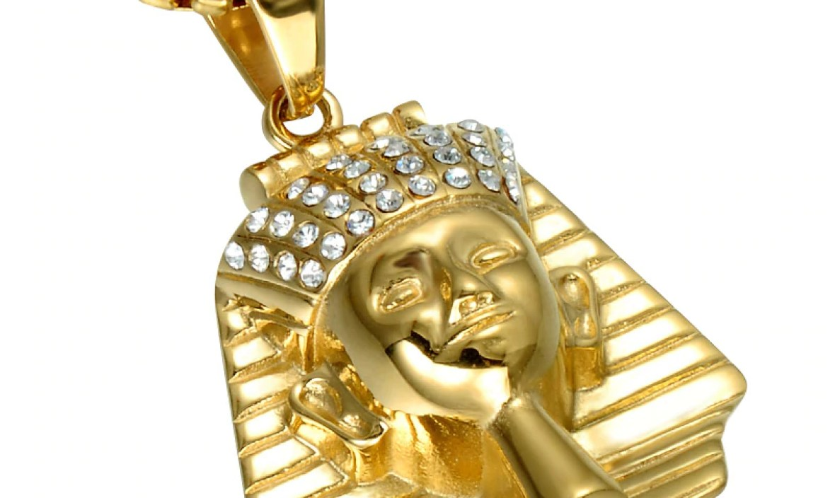 HIP Hop Gold Color Ancient Egypt Men Pendant & Necklace Ice Out Bling Pharaoh King Stainless Steel Titanium Necklaces Jewelry
