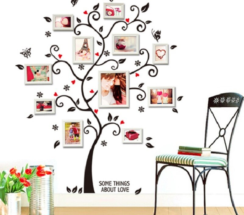Funny Wall Stickers Creative DIY photo frame Tree home decor Design Bedroom sofa vintage poster wall art decals For living room