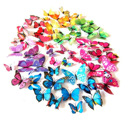 HOT 12pcs 3D PVC Butterfly Art Design Decal Wall Sticks Stickers Home Decor DIY Room Magnetic New
