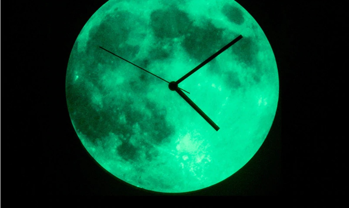 Creative Brief Wall Clock with Night Light Modern Design for Living Room Clocks Glow in Dark Moon Watch Silent Home Decor 12″