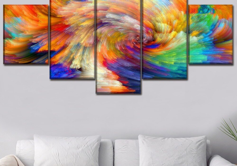 Canvas Painting Home Decor 5 Piece Colorful Abstract Artistic Design Picture For Living Room Wall Art Print Poster Decor Frame
