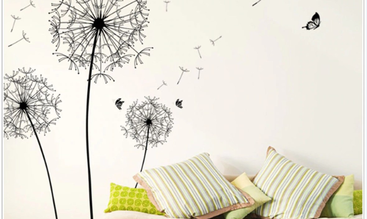 New Fahsion Dandelion Wall Decal Stickers DIY Home Decor New Design Large Black Dandelion Wall Sticker Art Decals PVC Poster