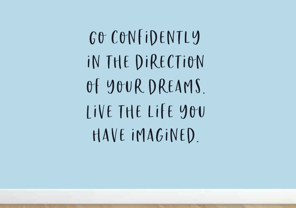 JOYRESIDE Go Confidently In The Direction Of Your Dreams Wall Quote Sticker Decals Vinyl Interior Home Design Art Murals A1229