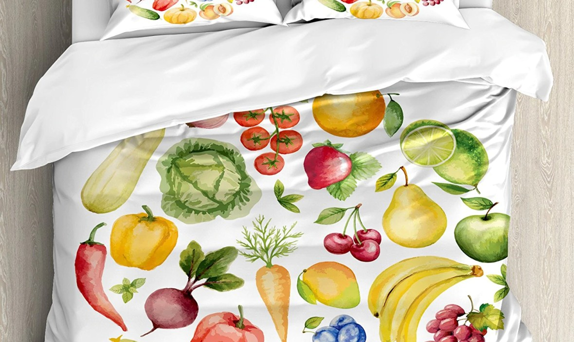 Kitchen Decor Duvet Cover Set Fruit Vegetables Vintage Style Kitchenware Cafe Home Design Watercolor Art Bedding Set White