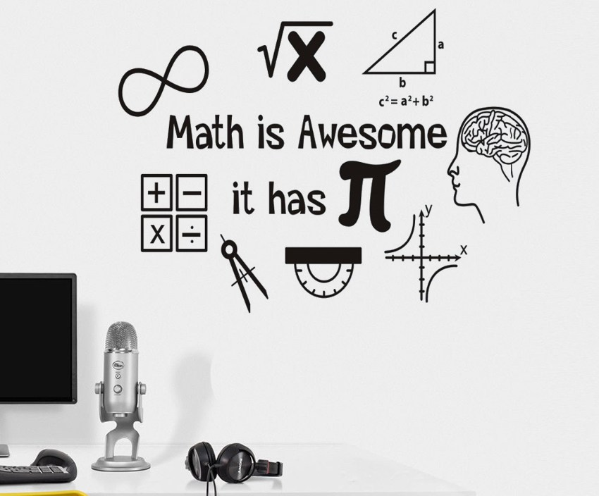 Math Is Awesome Wall Decor Thinking Sticker For Wall Calculator Decals Vinyl Decorations Interior Home Design Art Murals J021