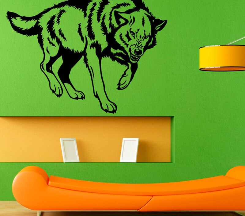 DCTOP Hot Sale Animal Wall Stickers Wolf Removable Vinyl Wall Decal Sticker Home Design Decoration For Boys Rooms