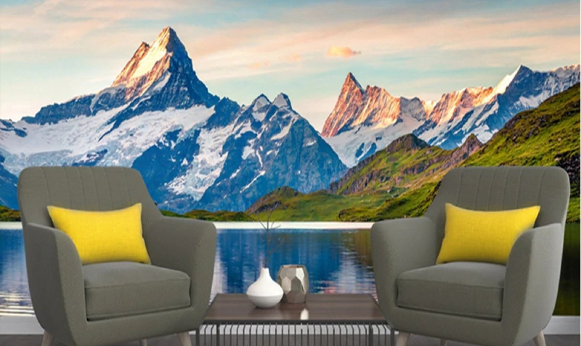 Custom Wall Murals 3d Wallpaper Scenery Alps Lake Kids Room Wallpaper TV Room Furniture Home Design Living Room Boys Room Decor