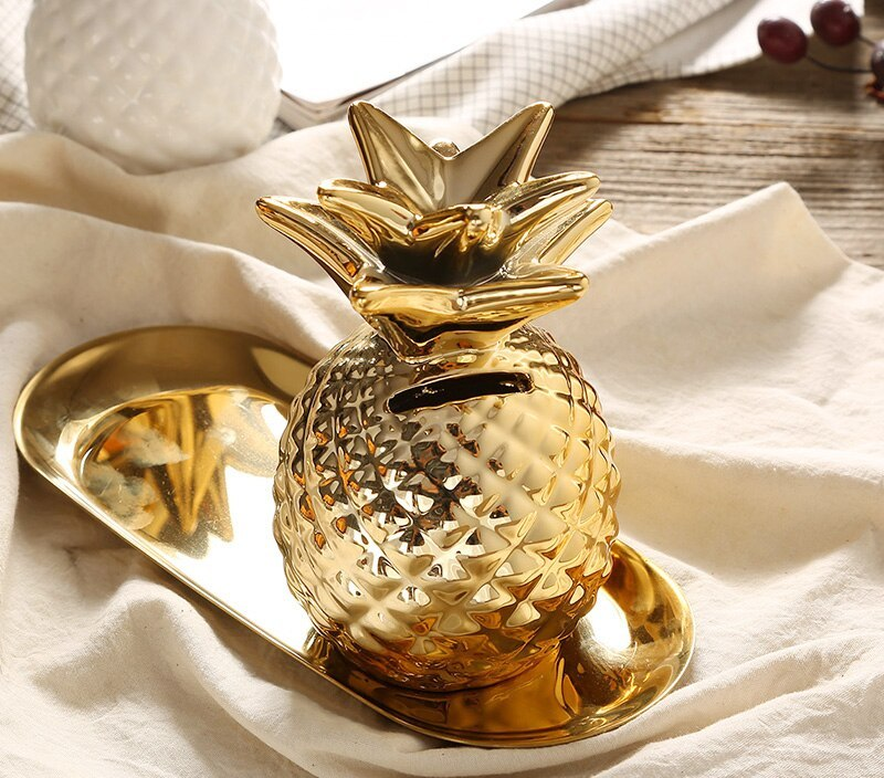European style gold pineapple ornaments ceramic home design decoration crafts piggy bank creative plant piggy bank 011
