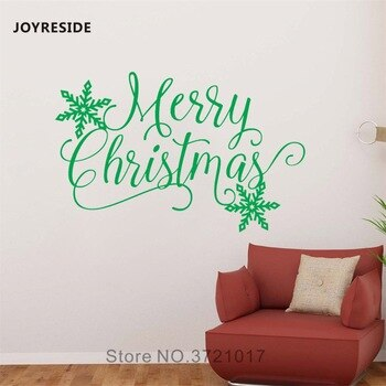 JOYRESIDE Merry Christmas Wall Snowflake Sticker Decals Vinyl Kids room Bedroom Living room Interior Home Design Art Mural A1409