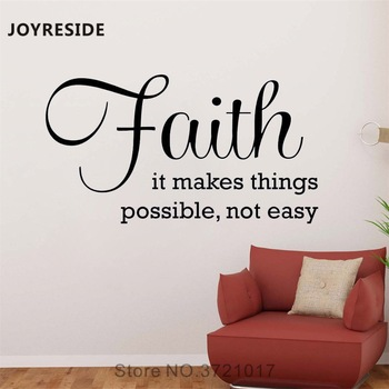 JOYRESIDE Faith Wall Quote Decals It Makes Things Possible Vinyl Sticker Kids Room Bedroom Living room Home Designs Mural A1456