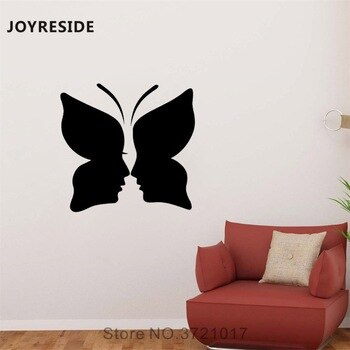 JOYRESIDE Couples Face Love Amore Wall Butterfly People Sticker Decals Vinyl Bedroom Living room Home Designs Art Mural A1453