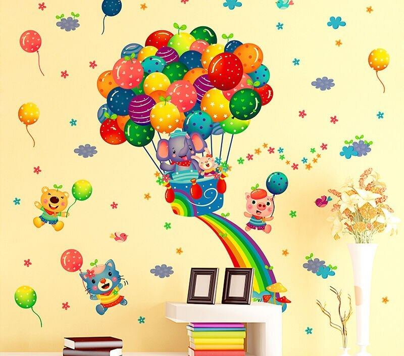 Design High Quality Removable Colorful Balloon Flying Cartoon Art Wall Stickers Home Room Decal Baby Decor 53cmx63cm