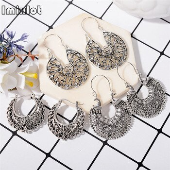 2018 Sale Hot Sale Aretes Aros Statement Hoop Earrings Indian Hollow Geometry Totem Antique Bohemian Boho Ear Jewelry For Women