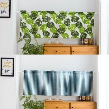 Home Designs Half Divider Wall Window Printed to Room Curtain Curtains Kitchen Small LeavesStripes Shade