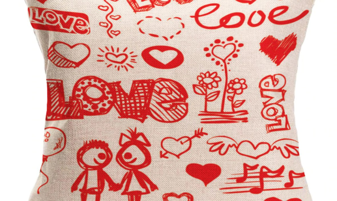 Lovers Painting Linen pillowcase red Throw Waist Pillow Case Home cover warm heart pillowslip Home Design soft Bed Square F80