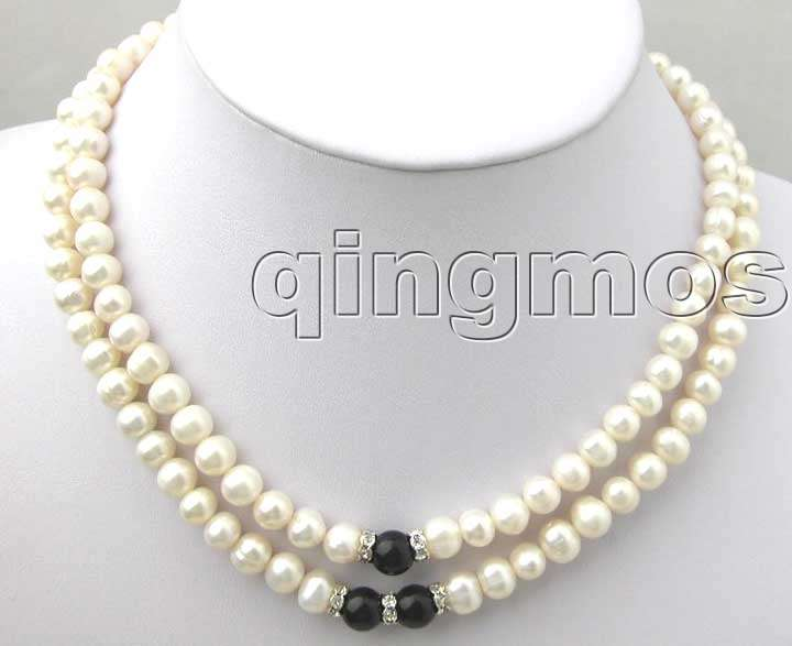 SALE  ELEGANT 6-7MM NATURAL WHITE FreshWater PEARL 17-19″ 2 STRANDS NECKLACE-nec1429 whole sale and retail